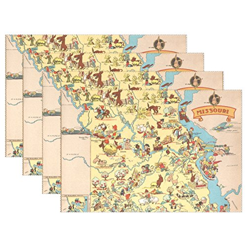 CoolPrintAll Vintage 1935 Missouri State Map Placemat Table Mat, 12