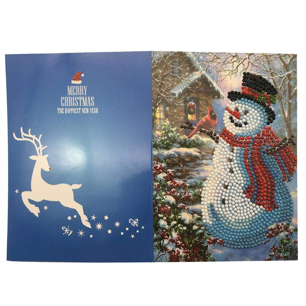 Kathariiy Tarjetas de Navidad 5D DIY Diamante Taladro Redondo Saludo Tarjetas de Acci/ón de Gracias Kit Regular Reasonable