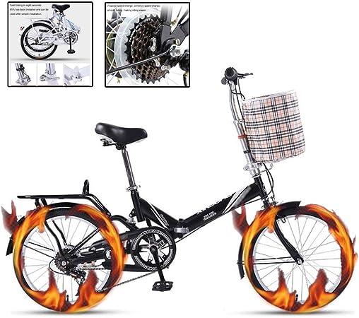 Paseo Bicicleta Plegable Bicicleta Portátil Ultraligera for Adultos Pequeña Bicicleta De 20 Pulgadas for Mujer Bicicleta De Cambio De 7 Velocidades (Color : Black, Size : 20 Inches): Amazon.es: Hogar