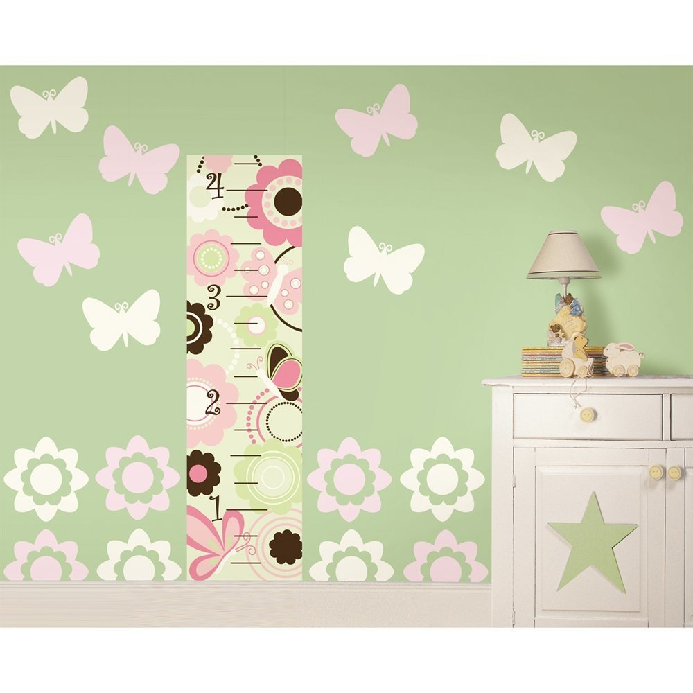 MD Group Wall Decals Growth Chart Butterfly and Flower Nursery Combo Vinyl Removable Kids Room Decor