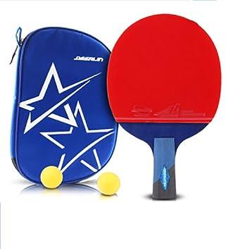 xianw 6 Estrellas Ping Pong Padel - Raqueta de Tenis de Mesa Profesional Mejor con Caucho de Alto Rendimiento - Palas de Madera con Mango Corto-C: ...