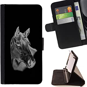 - Black & White Horse/ Personalized Design Custom Style PU Leather Case Wallet Flip Stand - Cao - For Apple iPod Touch 6 6th Generation