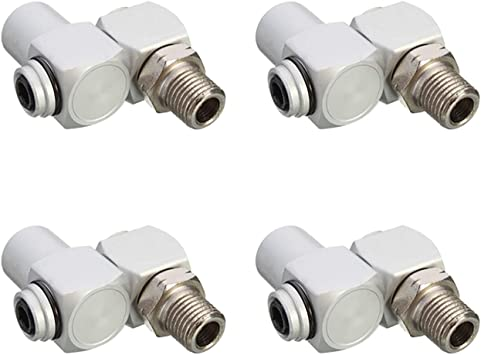"""4 PACK 1//4/"""" Universal 360 Swivel Air Hose Connector Adapter Flow Aluminum NEW"""