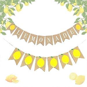 LaVenty Set of 2 Lemonade Party Decor Lemonade Banner Lemonade Stand Decoration Summer Lemonade Sign Lemon Decor Lemonade Party Supplies