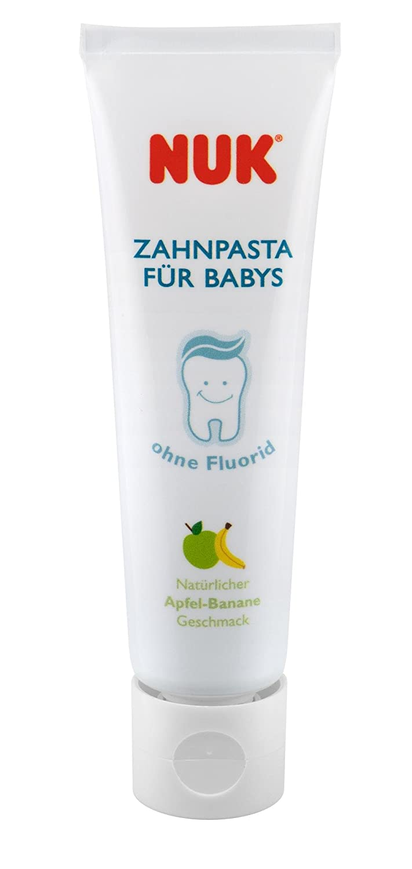 NUK 10256396 - Juego de higiene dental para bebé (pasta de dientes de manzana y plátano y cepillo de dientes para dedo, sin BPA, una unidad): NUK: ...