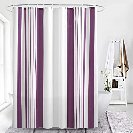CAMAL Shower Curtains Purple And White Striped Curtain Anti Mildew Waterproof Standard