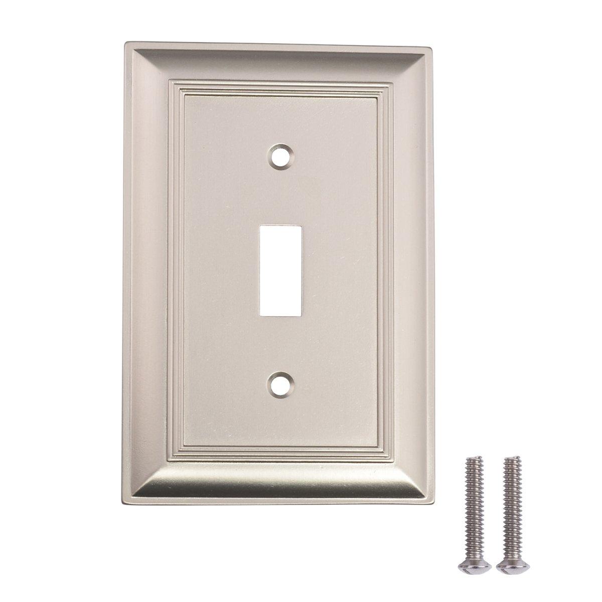 AmazonBasics Single Toggle Wall Plate, Satin Nickel, 3-Pack