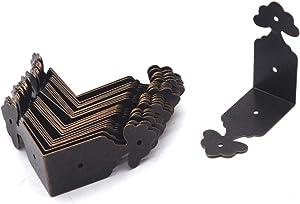 "Antrader Vintage Corner Protector Metal L Shaped Decorative Furniture Case Box Cover Corner Guards Bronze Tone, 24 Pack, 1.5"" x 0.7"""