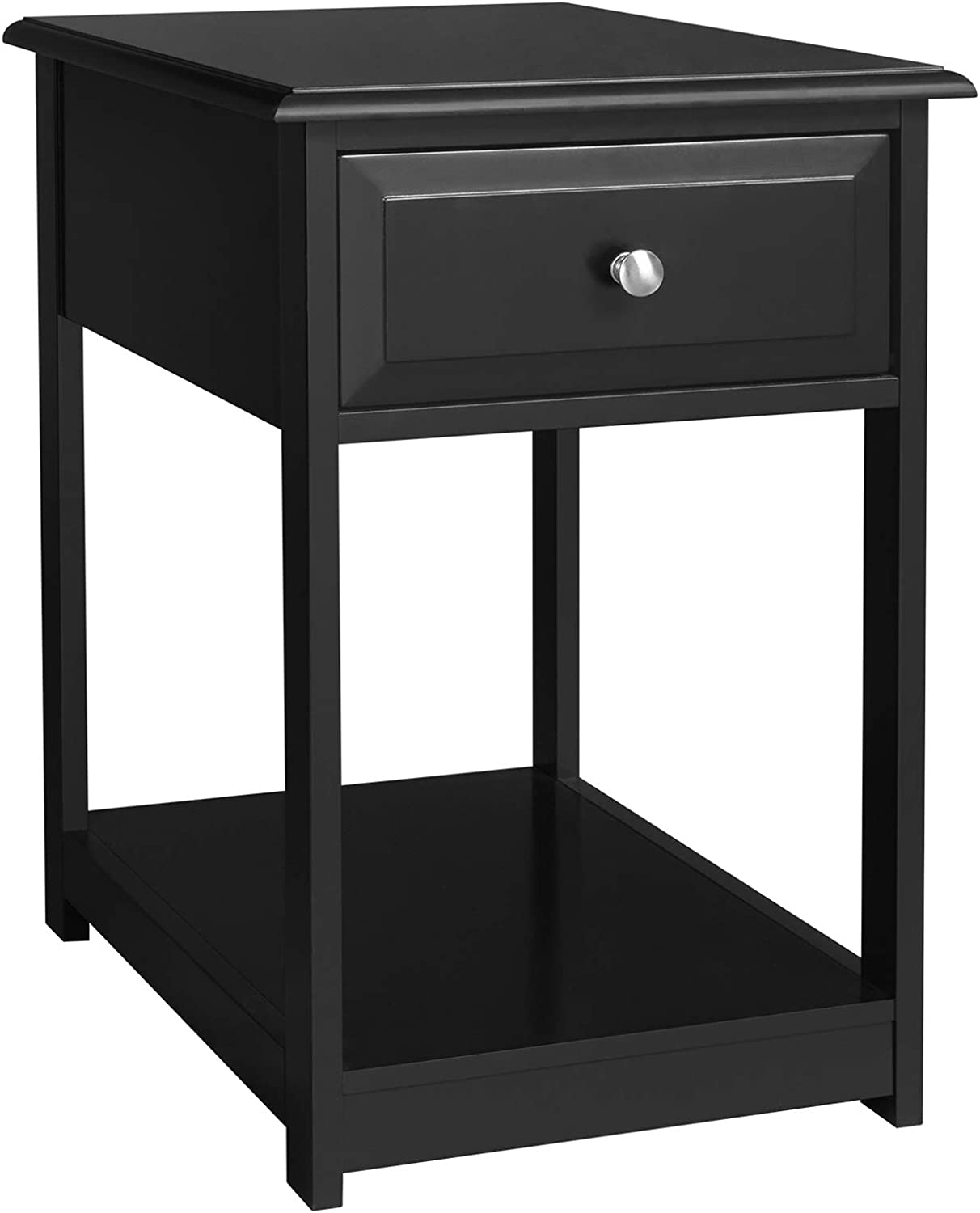 VASAGLE Side, End Table, Nightstand with 1 Drawer, Durable, for Bedroom, Living Room, Office, Black