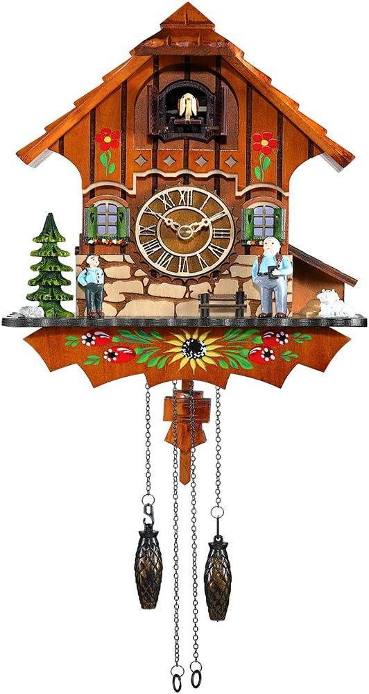 Kintrot Reloj de cuco Selva negra Reloj antiguo Reloj de pared de péndulo de cuarzo Decoración para el hogar