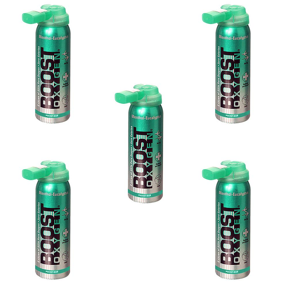 Boost Oxygen Natural Menthol Portable Canister Inhaler Bottle 2 Liters (5 Pack) by Boost Oxygen, LLC