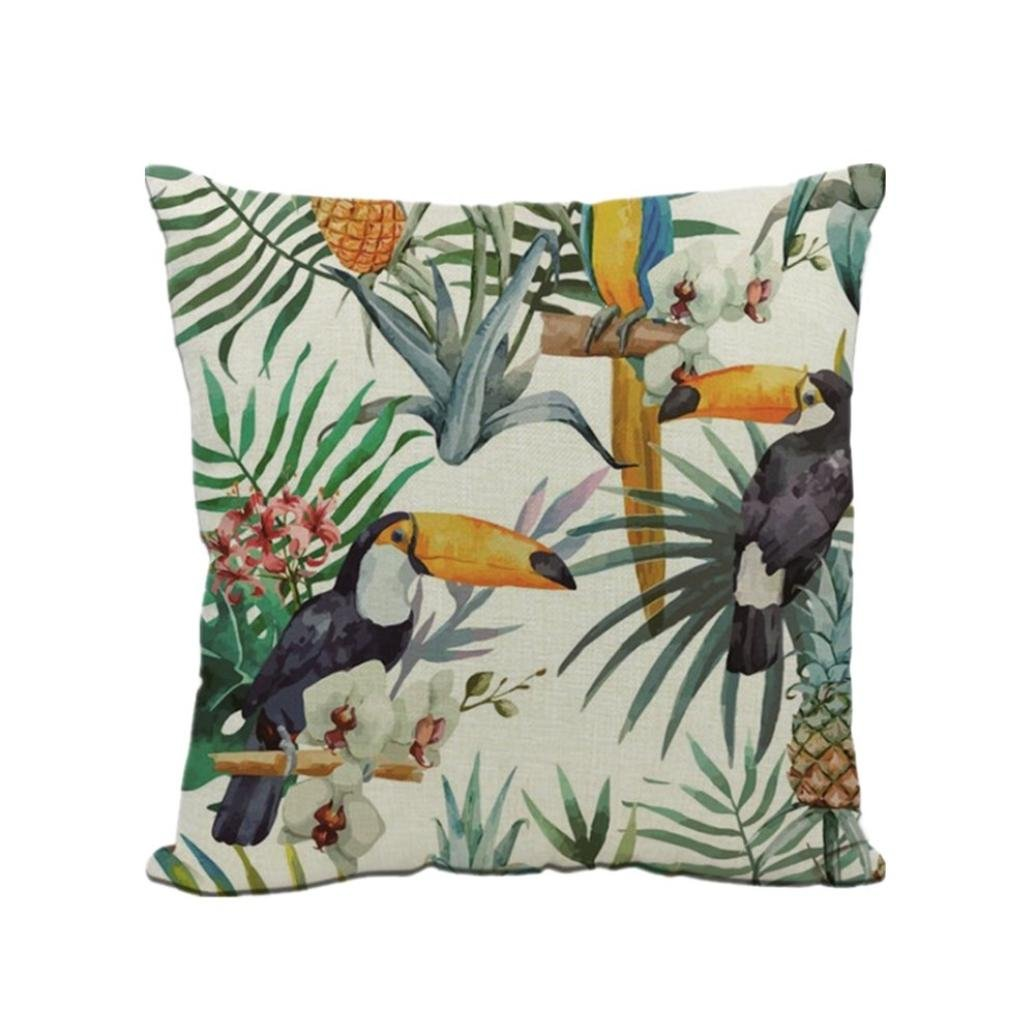 KMG Cushion Cover, Kimloog Tropical Flowers and Parrots Spring Gifts Linen Decorative Square Throw Pillow Case for Home Car