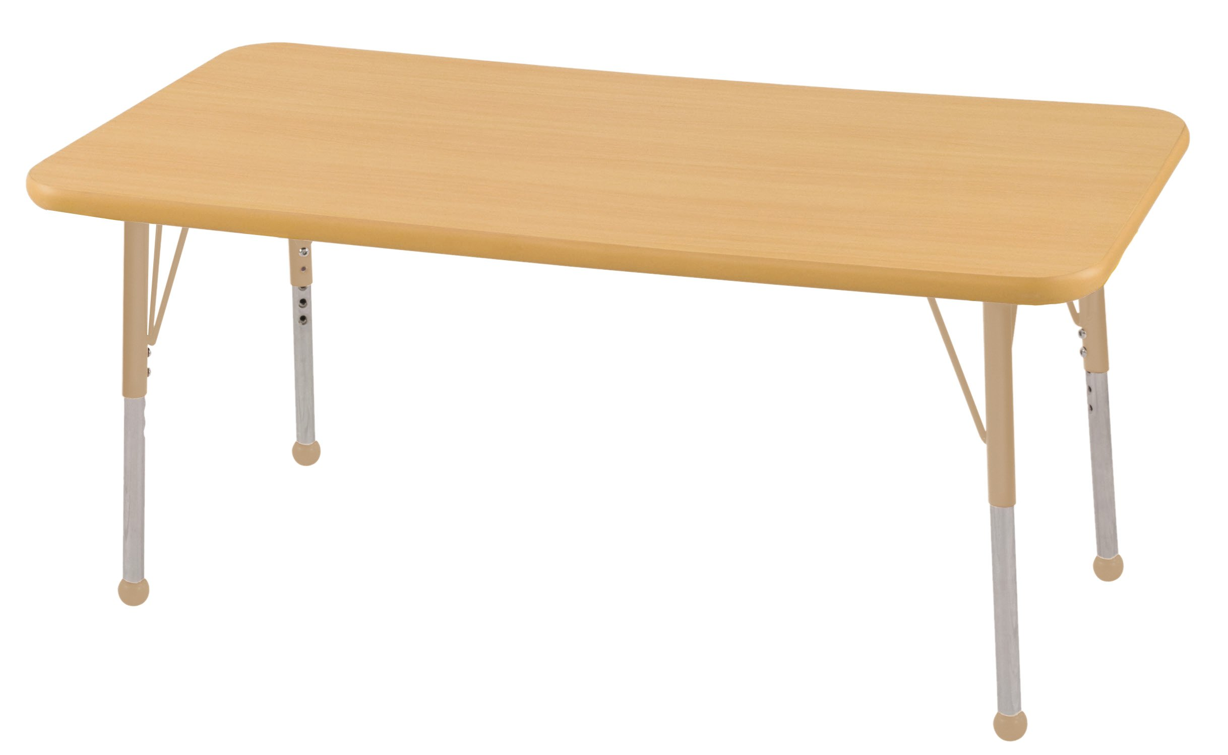 ECR4Kids Mesa T-Mold 30'' x 48'' Rectangular School Activity Table, Standard Legs w/ Ball Glides, Adjustable Height 19-30 inch (Maple/Sand)