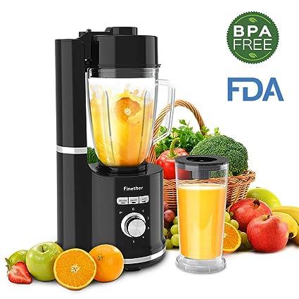 Finether Licuadora al Vacío 3 en 1, Licuadora para Verduras y Frutas, Antioxidante,