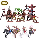 21 Pcs Plastic Indian Figures Playset Toy Native American Action Figures with Accessories Include Horse, Tent, Totem etc…