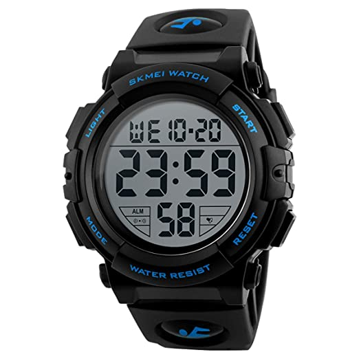 Skmei - Reloj digital deportivo militar para hombre, números grandes, impermeable, con alarma y temporizador, retroiluminación LED para hombres que corren: ...