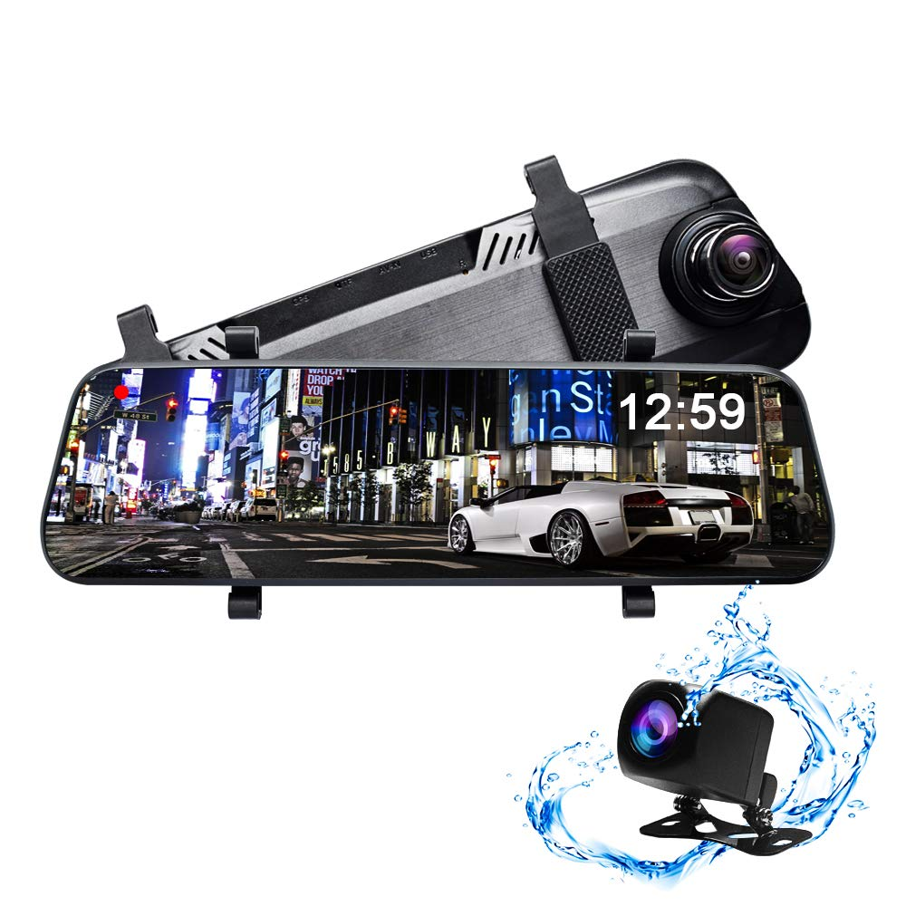 CUagain Car DVR 10' Touch Screen Mirror Dash Cam Backup Camera Kit Streaming Media Full HD 1080P Waterproof Night Vision Front and Rearview Camera