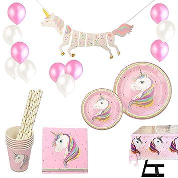VARIOUS Vajilla Desechable Cumpleaños Unicornio Rosa,para 18 Personas,108 Piezas Incluye Platos, Vasos, Mantel, Servilletas,Guirnalda, Pajitas y ...