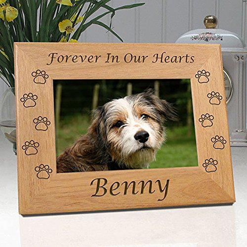 Personalized Dog Memorial Frame Engraved with Dog's Name - Quality Wood Picture Frame for 4x6 Photo - Choice of 9 Different Quotes (Quote 4) Box & Sympathy Card! ()