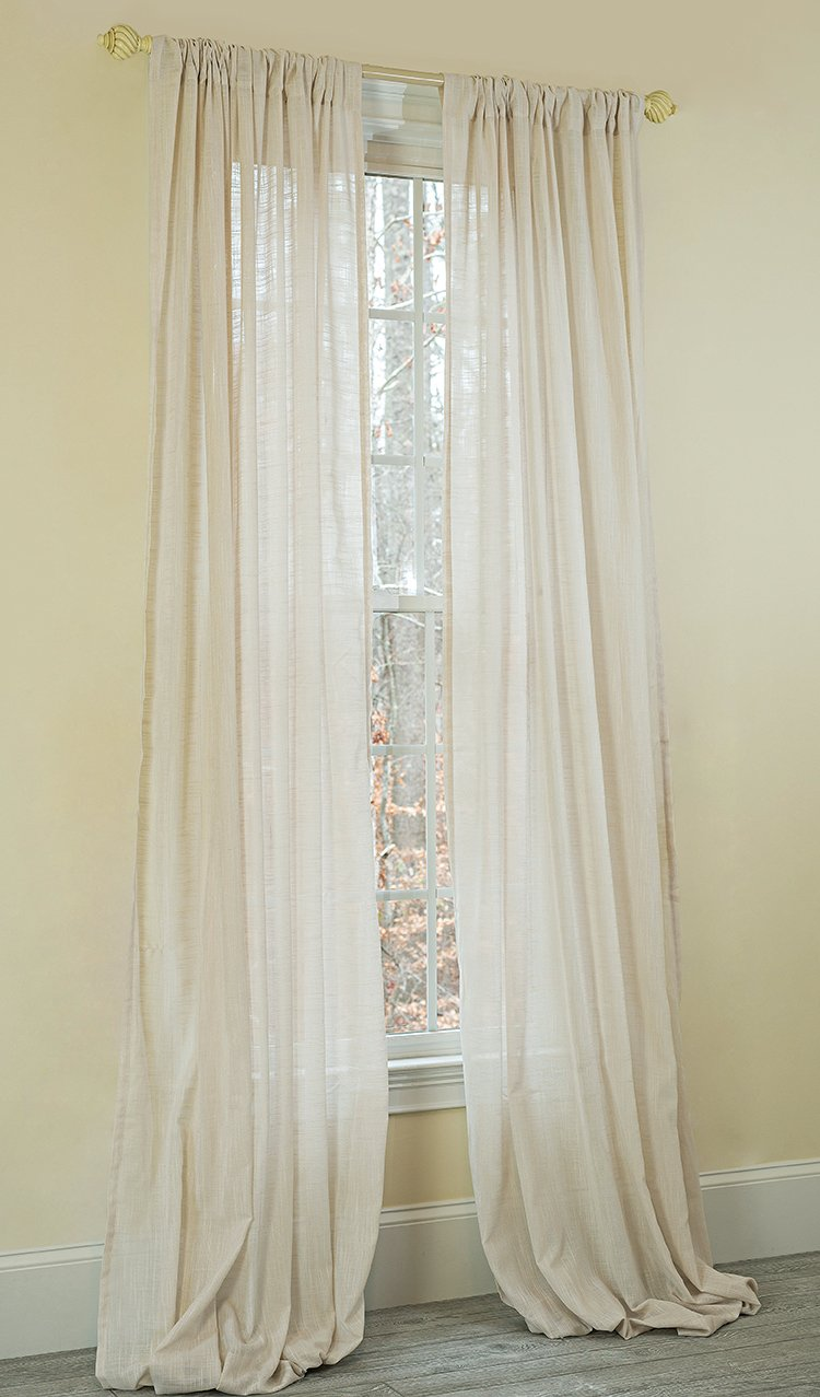 Single Panel 52 x 84 Manor Luxe Gloucester Sheer Rod Pocket Window Curtain