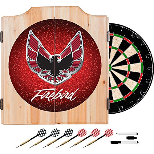 Pontiac Firebird Red Design Deluxe Solid Wood Cabinet Complete Dart Set by TMG