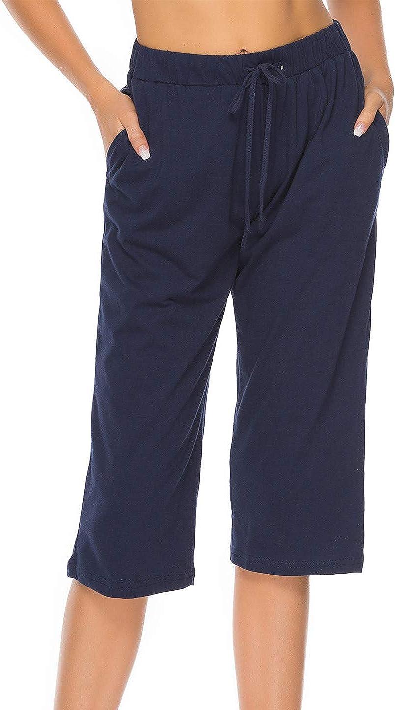 Vlazom Womens Pajama Pants 100/% Cotton Sleeping Bottoms Casual Capri Pants with Pockets Drawstring