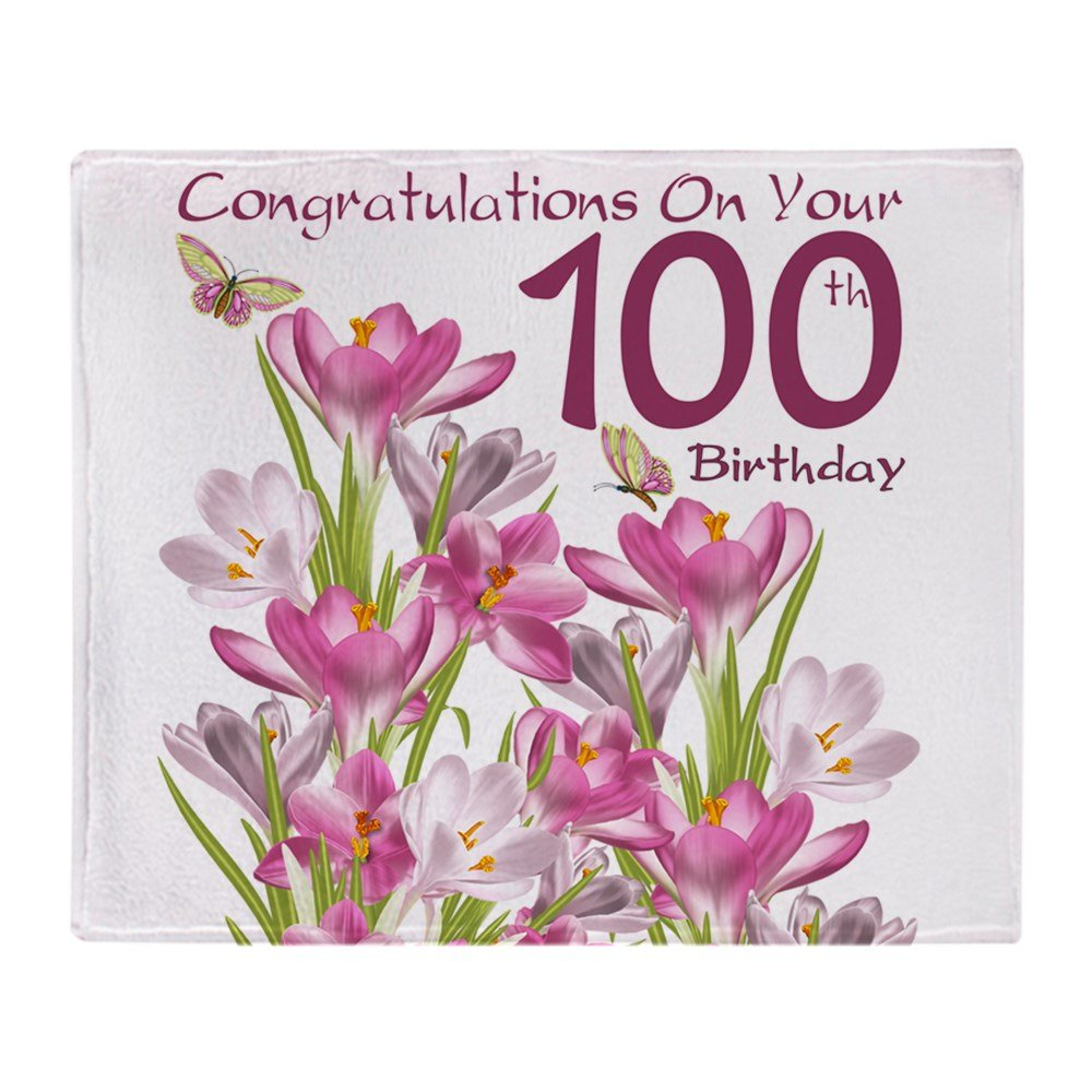 CafePress - 100Th Birthday Pink Crocus - Soft Fleece Throw Blanket, 50''x60'' Stadium Blanket