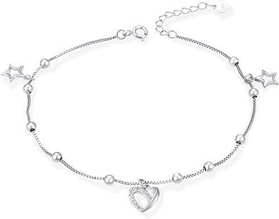 bracelet cheville en argent femme