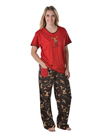 e474b12d4e1e Lazy One HTS776 HPP776 Women s Chocolate Moose Red and Brown Pajama Pyjama  Set Medium