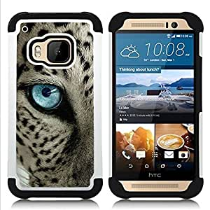 """HTC One M9 /M9s / One Hima - 3 en 1 impreso colorido de Altas Prestaciones PC Funda chaqueta Negro cubierta gel silicona suave (Ocelot Azul Negro manchas azules del ojo de gato"""")"""