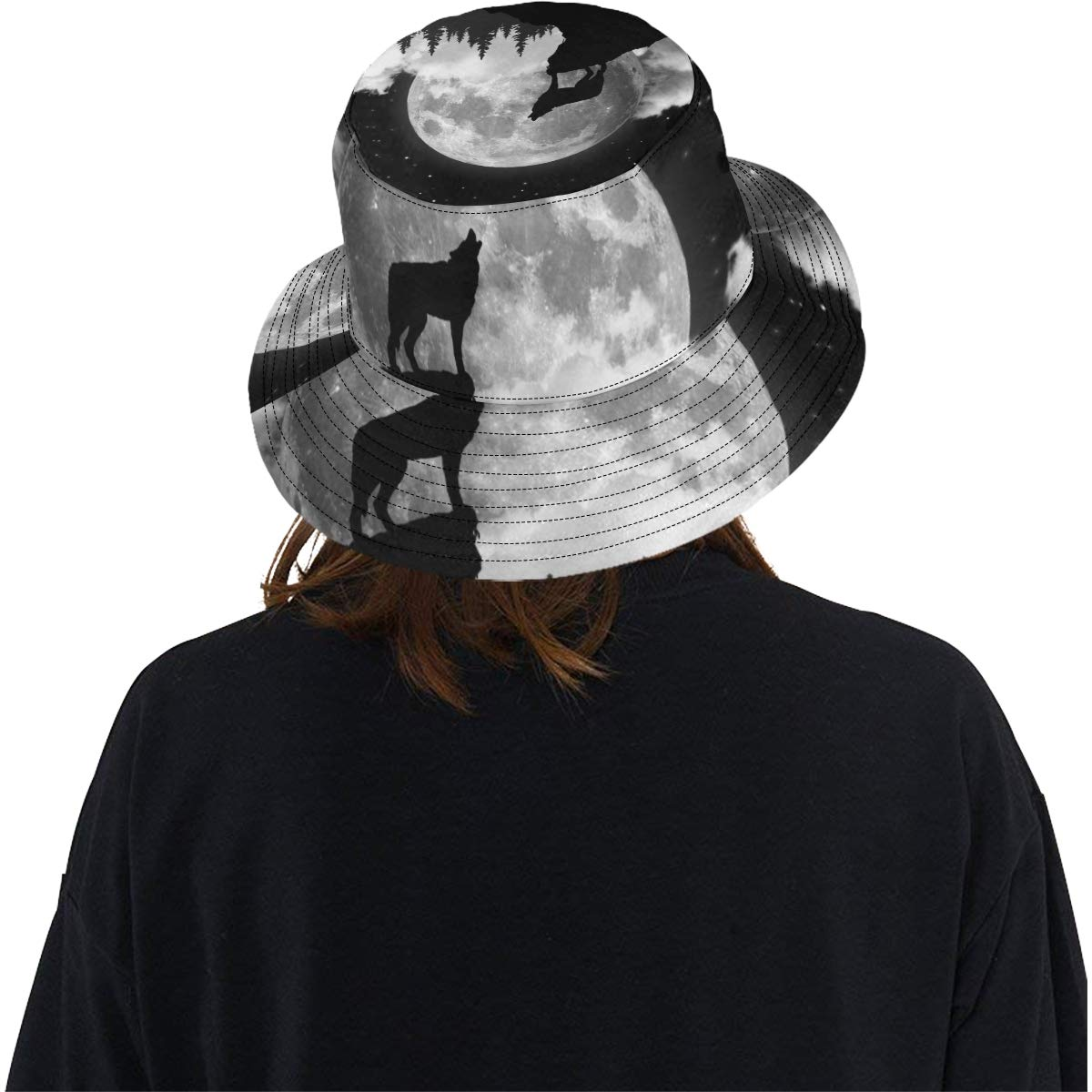Creepy Wolf Howling at Midnight Full Moon New Summer Unisex Cotton Fashion Fishing Sun Bucket Hats for Kid Teens Women and Men with Customize Top Packable Fisherman Cap for Outdoor Travel