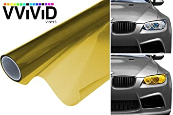 "12/"" x 24/"" In Yellow Tint Headlights Tail Lights Fog Lights Vinyl Wrap Film"