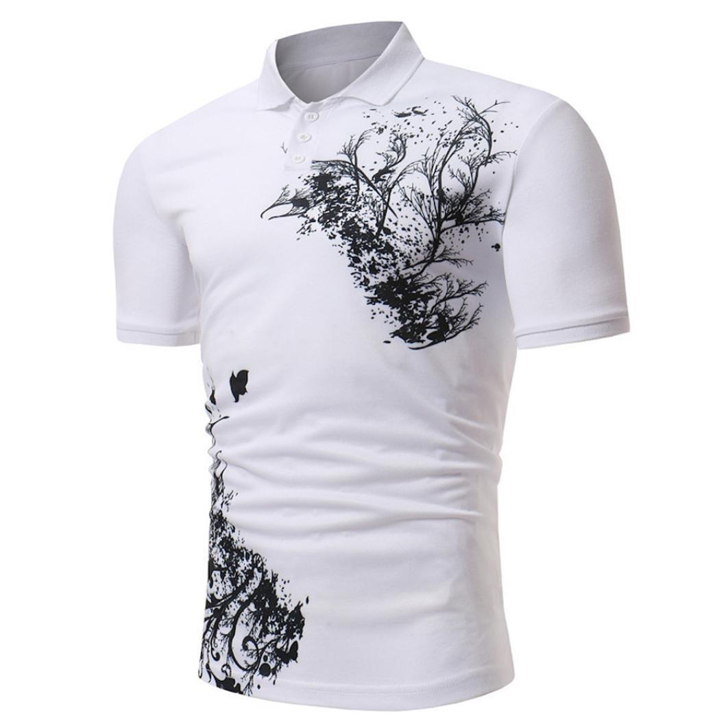Longra Herren Hemd Herren Hemden Polohemd Druckblusen Sommerblusen Top Poloshirt Herren Polo Shirt Basic Shirt Kurzarm Hemd Stehkragen  M|White
