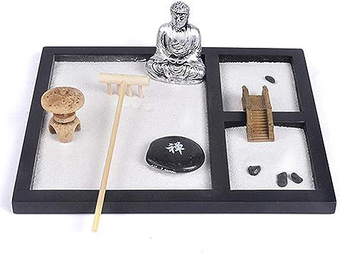 Faviye Mini Meditación Zen Jardín Miniatura Buda Ornamento Paisaje Arena Caja para Decoración del Hogar Regalo: Amazon.es: Hogar