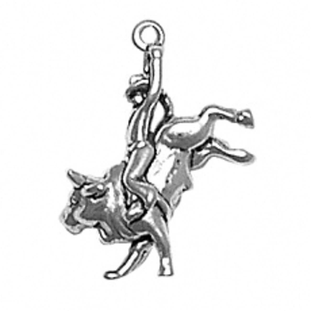 Sterling Silver 3D Rodeo Cowboy Bull Rider Charm Arm Raised And Bucking Bull Horns