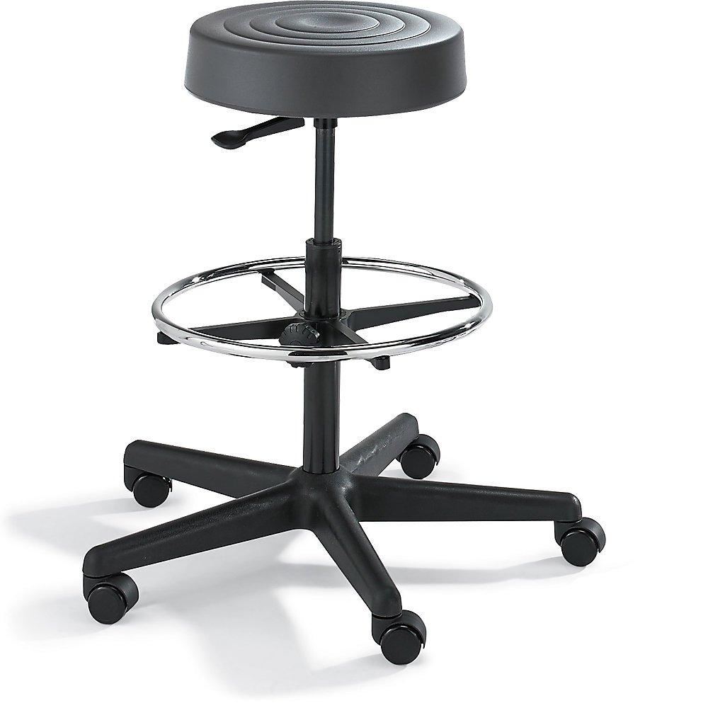 Bevco Padded Polyurethane Stool - 5-Star Black Plastic Base - 24-34'' Seat Height - Dark Gray - Dark Gray
