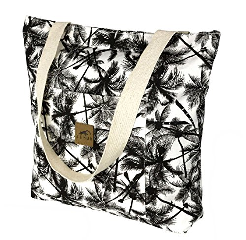 Canvas Shopping Tote Bag - Zippered Shoulder Tote with Front Pocket by Lemur Bags (Tropical Palm) by Lemur Bags