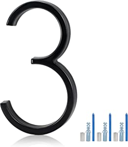 KOTTO 5 Inches House Numbers Modern Floating Street Home Address Number Aluminum Brushed Finish Number (Num 3)