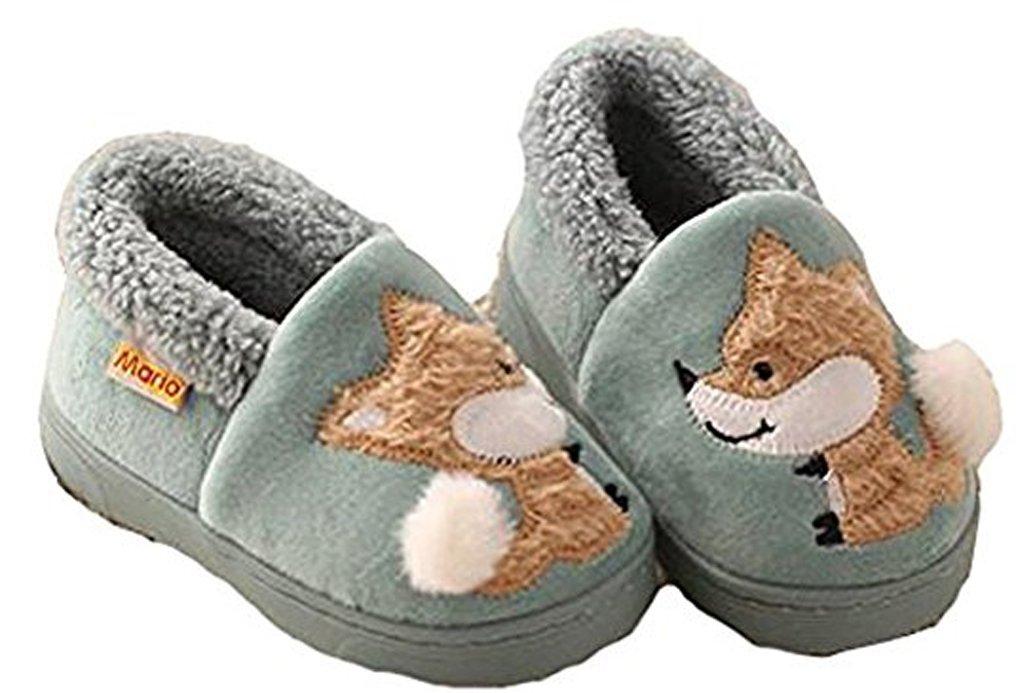 D.S.mor Kid's Fox Plush Warm Slippers Bedroom Slippers Children's Slippers (10.5 M, Green)