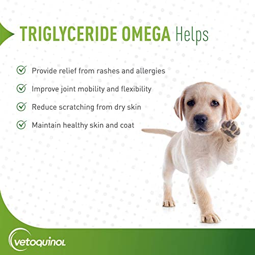 Vetoquinol Triglyceride Omega Liquid Dog Cat Supplement, 8oz All Weights
