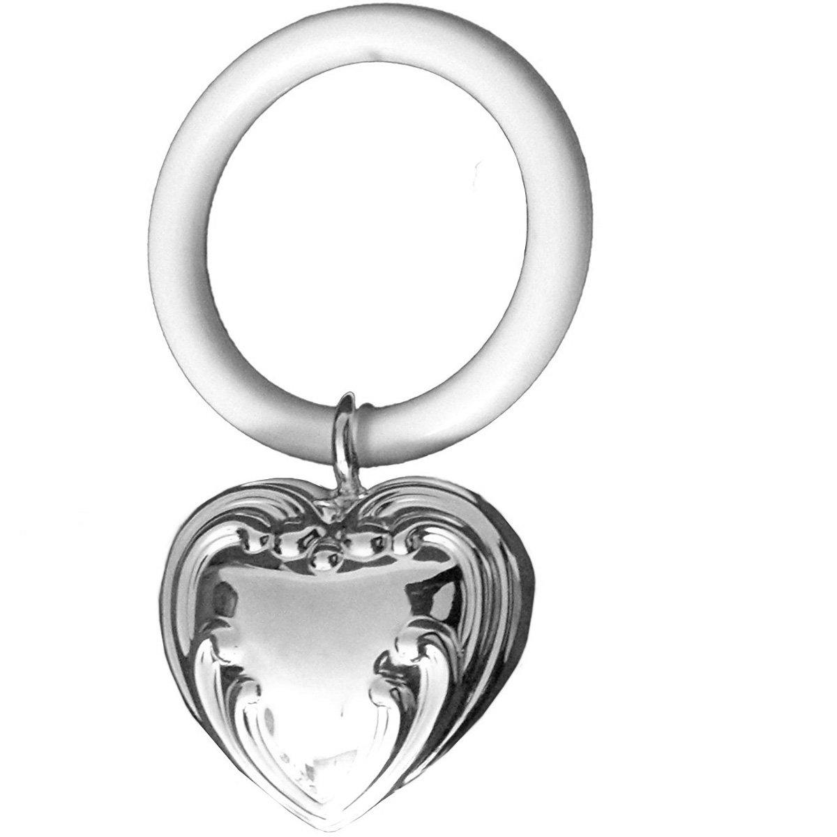 Kinderrassel mit Beissring Herz L 9 cm Silber Plated versilbert silberkanne