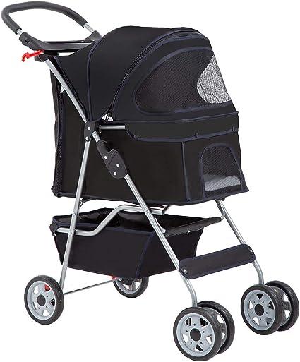 Pink 3 Wheels Pet Stroller Cat Dog Cage Stroller Travel Folding Carrier New