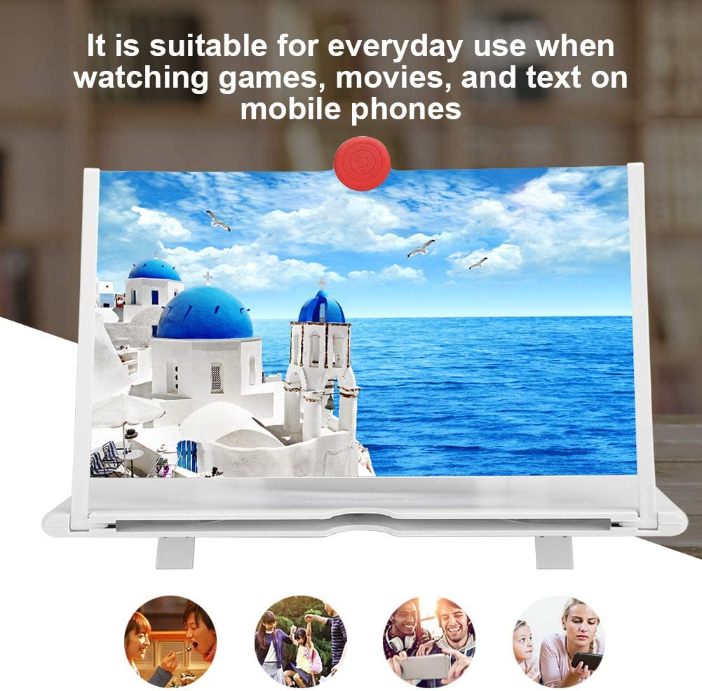 12in HD Large Screen 3 Times Magnify Mobile Phone Amplifier Screen Amplifier Portable Pull-Out Structure Plastic+Anti-Blu-Ray Acrylic