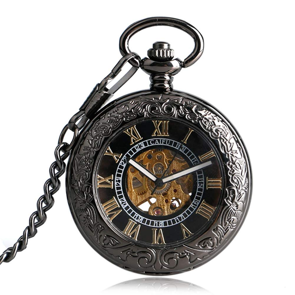Men's Pocket Watch, Transparent Glass Luxury Mechanical Cover Steampunk Gift for Men