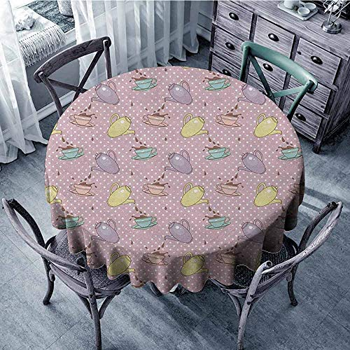 ScottDecor Camping Round Tablecloth Dinning Tabletop Decoration Tea Party,Polka Dots Background with Teapots Teacups Retro Cartoon Style, Lilac Turquoise Pale Green Diameter 54