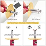 Newkiton Wheel Marking Gauge Plus with Micro Adjust Function, 1 Bearing Wheel Cutter for Soft Wood, 1 Locked Wheel Cutter for Hard Wood, 1 Metal Making Pen, 10 Marking Pencils, 1 Screwdriver Included