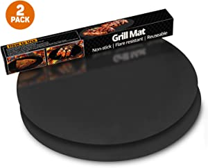 ThreadNanny Round BBQ Grill Mat | Heavy Duty 100% Non Stick Grilling Mats (Set of 2)|Barbeque and Grilling Accessories for Oven Microwave Electric Charcoal Gas Grill Barbecue