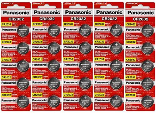Panasonic CR2032 3 Volt Lithium Coin Cell Battery - 25 Batteries