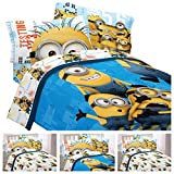Despicable Me Minions Complete 4 Piece Bed in a Bag Twin Bedding Set - Reversible Comforter, Sheets & Pillow Case