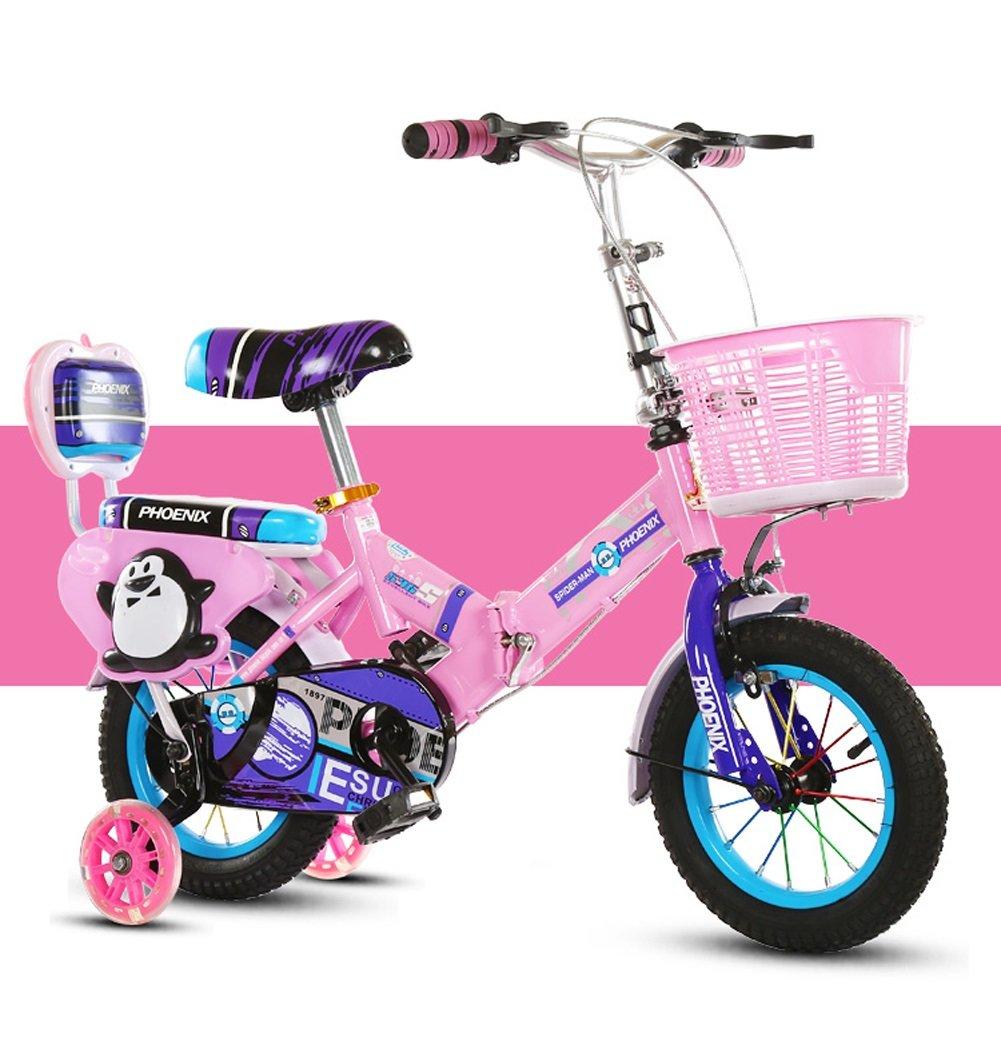 Biciclette per bambini JCOCO Pieghevole Bici per Bambini 2-4-6-8 Anni 12 14 16 18 Pollici Ragazze da Bambino Ruote ausiliarie Flash (colore   rosa, Dimensioni   18 )